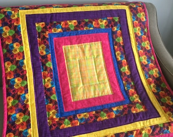 Modern Baby Quilt for Girl, Crib Blanket, Purple and Yellow Soft Quilt, Picnic Blanket, Gift for Baby, Bedding READY TO SHIP!!