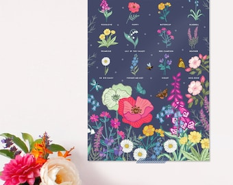 British Wild Flowers Poster - Nature Print - Wildlife Art - Botanical Print - Wild Flowers Wall Art  - Gift For Her - Mother's Day Gift