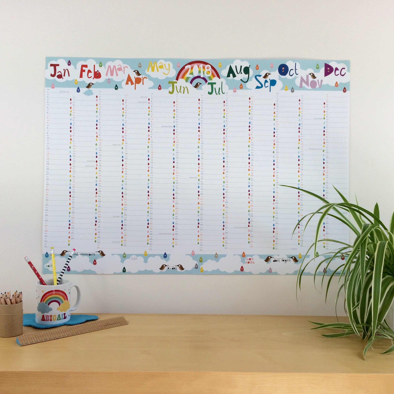 2018 Rainbow Wall Planner Large Family Wall Calendar Rainbow # Muebles Rainbow