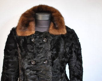 Vintage FULL LENGTH FUR coat with mink collar ......(172)