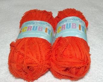 Mary Maxim Scrub It Yarn, Scrubby Cotton Yarn, Cotton Scrubby Yarn, Dish Cloth Yarn, 2 Pack Dischcloth Yarn, Yarn Sale, Orange Scrubby Yarn