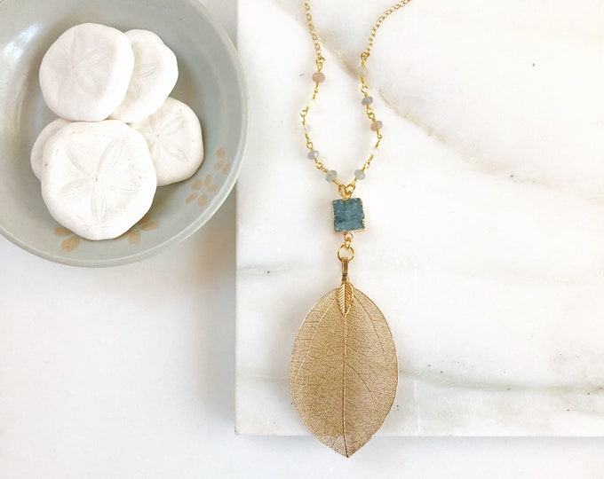 Long Gold Leaf and Druzy Necklace with Moonstone Beaded Chain. Pendant Necklace. Druzy Necklace. Boho Necklace. Jewelry. Gift.