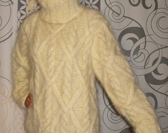 Hand Knitted Mohair Sweater Cable Turtleneck Fuzzy White or Choose your Own Color