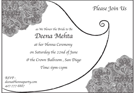 Henna mehendi party invitation card baby shower card stopboris Image collections
