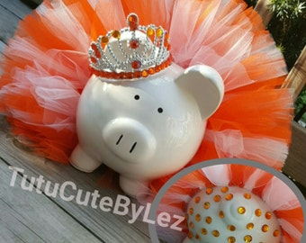 Orange and White Princess Tutu Piggy Bank