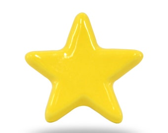 Yellow Star Shaped Ceramic Furniture Pull for a Modern Home, Unique Decorative Kitchen Cupboard Handle, Cabinet Pull or Dresser Drawer Knob