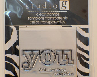 Studio G You Did Awesome, Congrats Cling Clear Rubber Stamp
