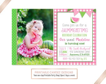 Pink Watermelon Birthday Invitation - Watermelon Birthday - Summer Birthday - Picnic Party - Watermelon Invitation - DIY Custom Printable