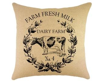 Cow Pillow, Farm Fresh Milk, French Farmhouse Throw Pillow, Shabby Cottage, Crest