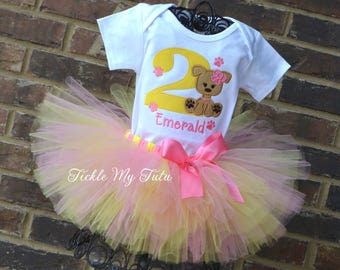 Puppy Paw-ty Birthday Tutu Outfit-Puppy Themed Birthday Tutu Set-Dog Themed Birthday Tutu Set-Dog Birthday Outfit-Puppy Birthday Outfit