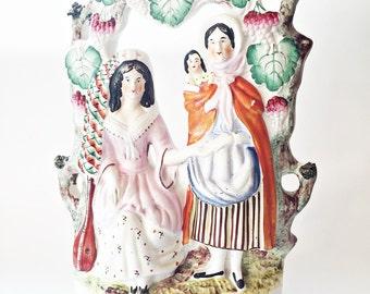 Antique Staffordshire Figurine Victorian Figurine Large English Pottery