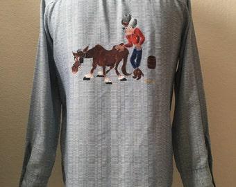 Vintage Men's 70's Levi's, Cowboy Shirt, Blue, White, Button Down, Long Sleeve (L)