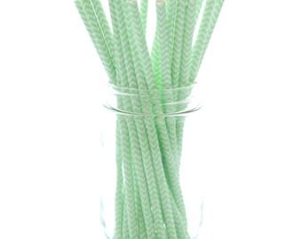 Mint Green Paper Straws, Striped Drinking Straws, Paper Party Straws, 25 Pack - Mint Green Chevron Straws