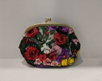 1980's Floral Coin Purse/Made in Italy/Gold Brushed Metal Frame and Clasp with Vine Design/Vintage Coin Purse/Nylon