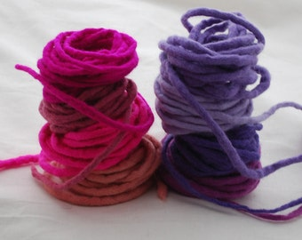 100% Wool Felt Cord - 8 Cords - Assorted Pink and Purple Colors