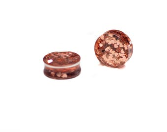 "Rose Gold ""Valentine"" Plugs - 1"" inch Flare - Handmade Resin Body Jewelry - Gauge Size 1"" ONLY"