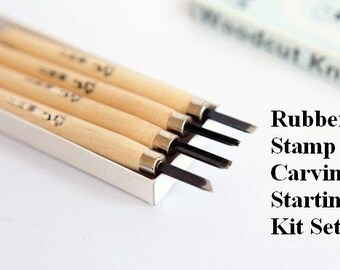 Rubber Stamp Carving Kit Set - Handmade Rubber Stamps - For Beginner - Carving Tool - Eraser Block - Rubber Carving Kit - READY TO SHIP