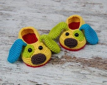 Puppy slippers etsy scrappy the happy puppy slippers pdf crochet pattern child sizes us 10 dt1010fo