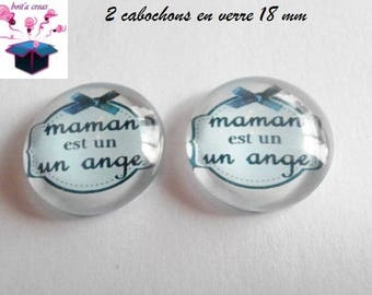 2 glass cabochons domed 18mm theme mother's day.