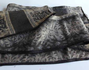 Vintage Fabric, Vintage Wool Remnant, Brown Floral Wool Remnant, Heavy Wool Antique Remnant