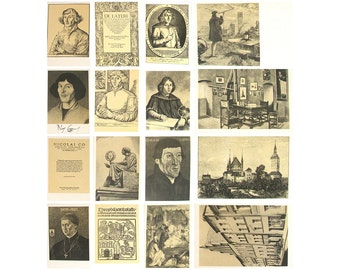 Nicolaus Copernicus, Set of 16 Postcards, Portrait, Illustration, Rare Soviet Vintage Postcards, Unused, Made in USSR, 1973, 70s