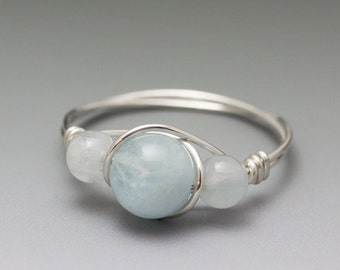 Aquamarine Sterling Silver Wire Wrapped Ring - Made to Order, Ships Fast!