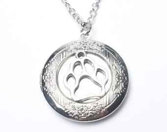 Dog Paw locket Necklace - Keepsake Jewelry - Ashes Necklace - Pet Dog Paw locket  charm