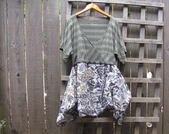 Green Stripe Tribal Hippie Tunic Shirt Lagenlook Upcycled/ Funky Asymmetrical Hawaiian Eco Blouse/ Hi Lo Womens Tops M/L