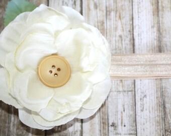 Cream Flower Headband, Hair Clip, Hair Accessories, Spring Hair Accessories