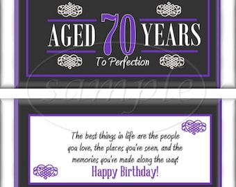70th Birthday Party Favors Hershey's Candy Bar Wrappers Purple