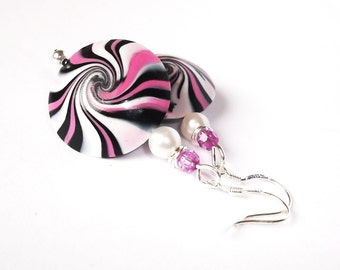 Swirl Pink Earrings ( polymer clay beads handmade black silver earrings dangle earrings women girl )