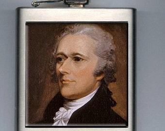 Alexander Hamilton Portrait Inspired Liquor Hip Flask