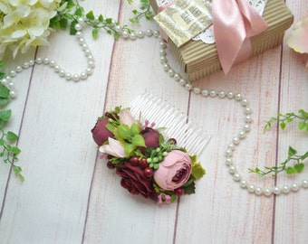 Gift for daughter Burgundy hair accessories Blush Pink flower comb Bridal flower hair comb Wedding head piece Bridal fascinator Flower girl
