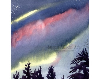 8x10 inch original watercolour painting by Susan Alison sunset sunrise light shines through sun after rain cloudy skies gleam of sunshine