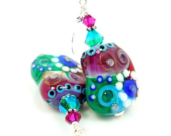 Colorful Earrings, Abstract Earrings, Unique Earrings, Lampwork Earrings, Glass Earrings, Glass Bead Earrings, Unusual Earrings