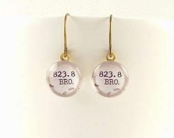 Dewey Decimal Earrings - Card Catalog Jewelry - Bronte 823.8 - Librarian Earrings - Bibliophile Gift - Library Jewellery