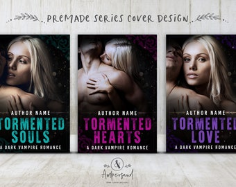 "3 Book Series Premade Digital eBook Book Cover Design Trilogy ""Tormented Series"" Young New Adult YA Teen Dark Paranormal Romance Vampire"