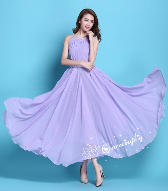 90 Colors Chiffon Light Purple Long Party Evening Wedding