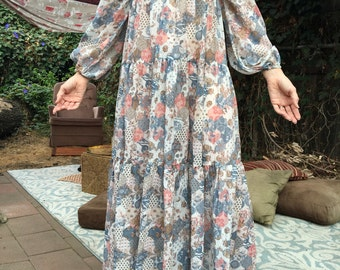 Fantastic ethereal smocked bodice patchwork hippie dress.
