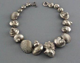 Reserve paiement 2/2: Vintage ROBERT GOOSSENS coquillage emblématique texturé collier