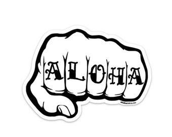 ALOHA Knuckle Tattoo Sticker (3.5 x 4.75in)