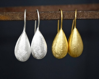 Brushed Silver Earrings, Brushed Gold Earrings, Sterling Silver Drops, Gold Vermeil Drops, Teardrop Earrings, Simple Earrings