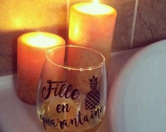 Quarantine girl Stemless wine glass