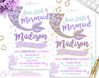Mermaid Invitation, Mermaid Birthday Invitation, Mermaid Pool Party Invitation, Mermaid Party Gold Sparkle, Under The Sea Invitation,