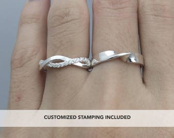 His and Her Promise Rings, Promise Ring, Wedding Ring Set, Promise Rings For Couples, Personalized, Couple Ring Set, Couple Rings, Engraved