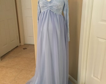 Light Blue Lace Chiffon Lining Long Sleeves Maternity Gown