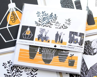 Home Collection Greeting Cards - Set of 4 blank illustrated black, white and orange cards CODE: HO C135 / home / plants / light / interior