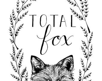 Fox art print, Fox ink drawing, Fox drawing, Fox fine art print, Fox art