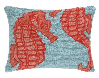 Blue Ocean Seahorse Hand-Hooked Beach Pillow