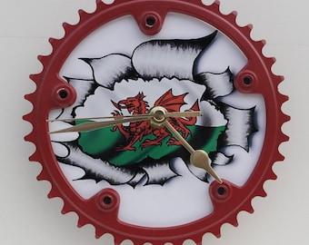 Bike clock Cycle clock Dragon clockWelsh dragon clock